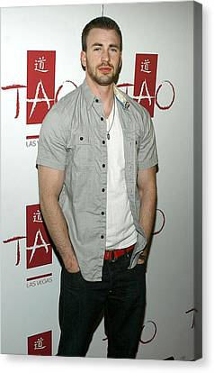 Chris Evans At Arrivals For Tao Partner Canvas Print by Everett
