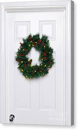 Holly Berry Still Life Canvas Print - Chrismas Wreath On A White Door by Richard Thomas