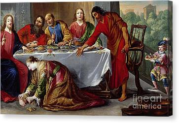 Christ In The House Of Simon The Pharisee Canvas Print by Claude Vignon