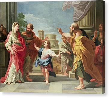 Christ Preaching In The Temple Canvas Print by Ludovico Gimignani