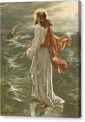Christ Walking On The Waters Canvas Print