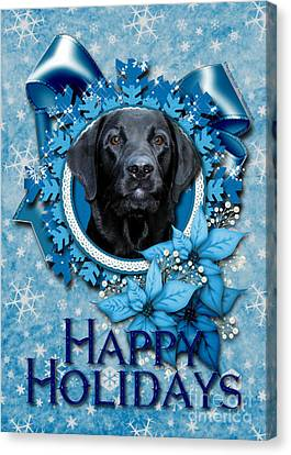 Christmas - Blue Snowflakes Labrador Canvas Print by Renae Laughner