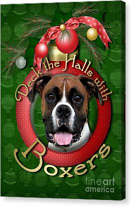 Christmas - Deck The Halls With Boxers Canvas Print by Renae Laughner