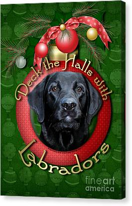 Christmas - Deck The Halls With Labradors Canvas Print by Renae Laughner