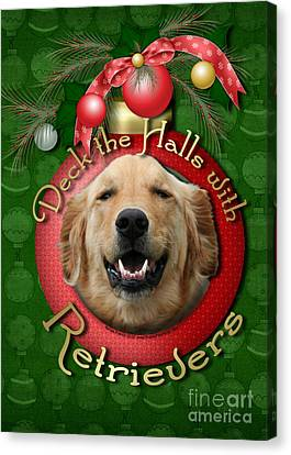 Christmas - Deck The Halls With Retrievers Canvas Print by Renae Laughner