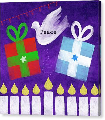 Dove Canvas Print - Christmas And Hanukkah Peace by Linda Woods