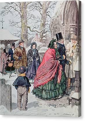 Christmas At Dreamthorpe Canvas Print by Charles Edmund Brock