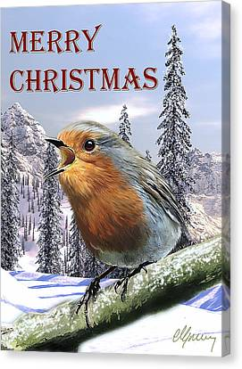 Christmas Card Red Robin Canvas Print by Michael Greenaway