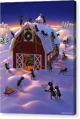 Ant Canvas Print - Christmas Decorator Ants by Robin Moline