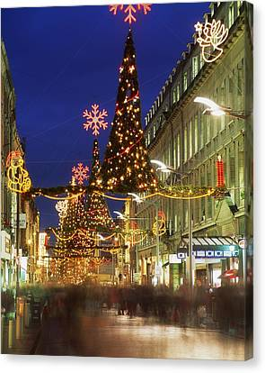 Western Ma Canvas Print - Christmas In Dublin, Henry Street At by The Irish Image Collection