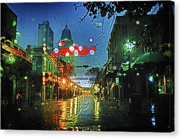 Lights At 3 Georges In Mobile Al Canvas Print by Michael Thomas