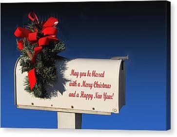 Christmas Mail Box Canvas Print by Linda Phelps