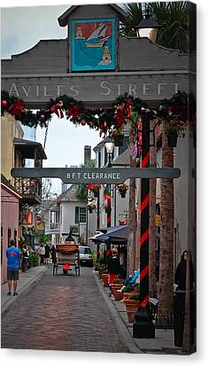 Christmas On Aviles Street Canvas Print by DigiArt Diaries by Vicky B Fuller