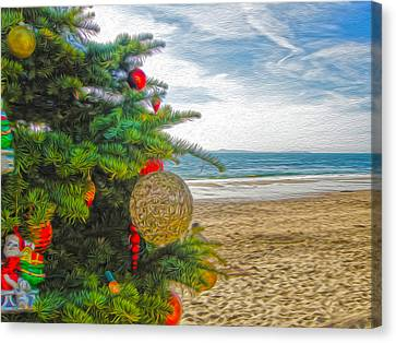 Canvas Print featuring the painting Christmas On The Beach by Gregory Dyer