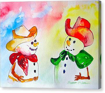 Canvas Print featuring the painting Christmas Partners by Sharon Mick