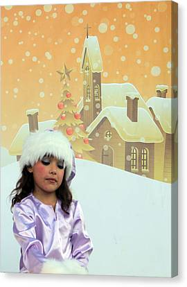 Christmas Play At Manger Square In Bethlehem Canvas Print by Munir Alawi