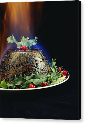 Holly Berry Still Life Canvas Print - Christmas Pudding by David Munns
