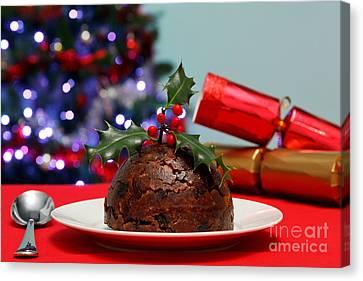 Holly Berry Still Life Canvas Print - Christmas Pudding  by Richard Thomas