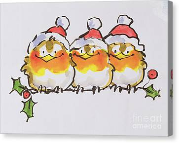 Father Christmas Canvas Print - Christmas Robins by Diane Matthes