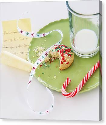 Christmas Still Life With Cookie And Whishlist Canvas Print by Daniel Grill