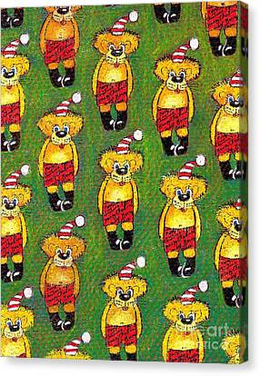 Christmas Teddy Bears Canvas Print by Genevieve Esson