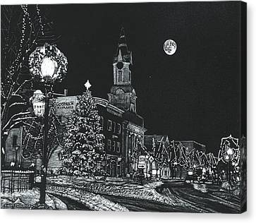 Lamp Post Canvas Print - Christmastime by Robert Goudreau
