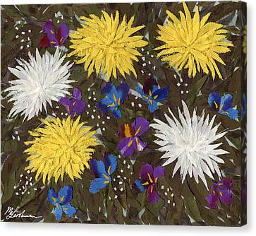 Chrysanthemums And Irises Canvas Print by Marina Gershman