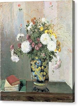 Chrysanthemums In A Chinese Vase Canvas Print by Camille Pissarro