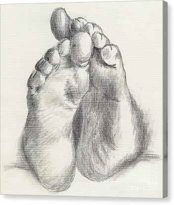 Canvas Print featuring the drawing Chubby Feet by Annemeet Hasidi- van der Leij