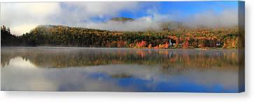 Church Across The Lake-panoramic Canvas Print