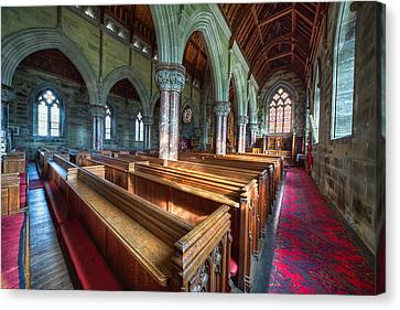 Church Benches Canvas Print by Adrian Evans