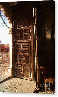 Church Door At Atotonilco Canvas Print by John  Kolenberg