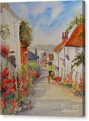 Canvas Print featuring the painting Church Hill - Hythe- Uk by Beatrice Cloake