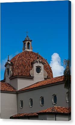 Canvas Print featuring the photograph Church Of The Little Flower Dome And Cross by Ed Gleichman