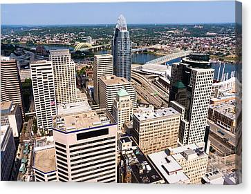 Ballpark Canvas Print - Cincinnati Aerial Skyline 2012 by Paul Velgos