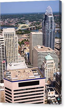 Cincinnati Aerial Skyline Downtown City Buildings Canvas Print by Paul Velgos