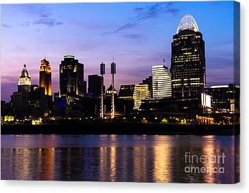 Cincinnati At Night Downtown City Skyline Canvas Print by Paul Velgos