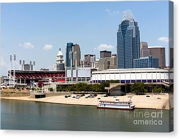 Ballpark Canvas Print - Cincinnati Ohio Skyline And Riverfront by Paul Velgos