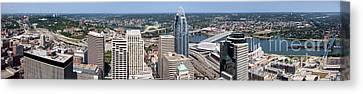 Cincinnati Panorama Aerial Skyline Downtown City Buildings Canvas Print by Paul Velgos