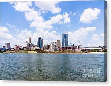 Ballpark Canvas Print - Cincinnati Skyline And Downtown City Buildings by Paul Velgos
