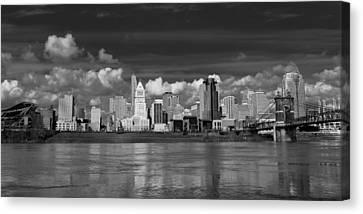 Cincinnati Skyline Bw Canvas Print by Keith Allen