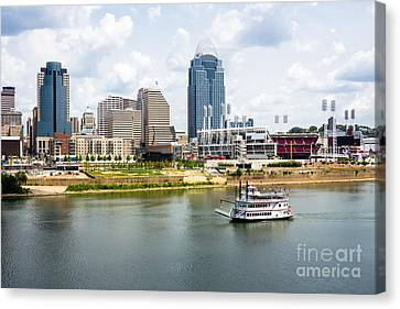 Cincinnati Skyline With Riverboat Photo Canvas Print by Paul Velgos