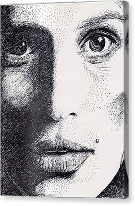Cindy Crawford Pen And Ink Portrait Canvas Print by Rom Galicia