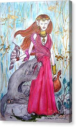 Circe The Sorceress Canvas Print by Koral Garcia