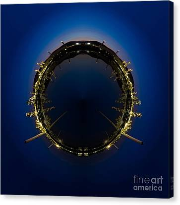 Circle Panorama Of Petrochemical Industry Canvas Print by Weerayut Kongsombut