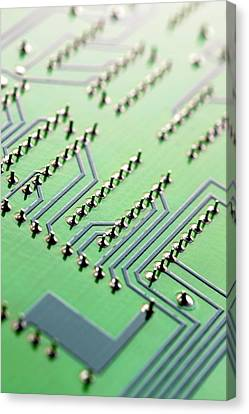 Circuit Board Canvas Print by Maria Toutoudaki