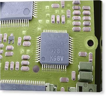 Circuit Board Microchip, Sem Canvas Print by Steve Gschmeissner