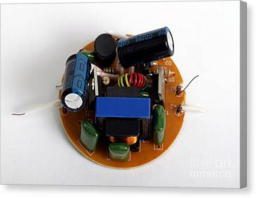 Circuit Board Of Light Bulb Canvas Print by Photo Researchers, Inc.