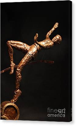 Citius Altius Fortius Olympic Art High Jumper On Black Canvas Print by Adam Long