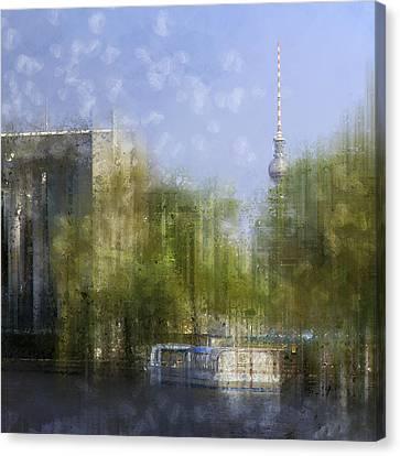 Modern Digital Art Digital Art Canvas Print - City-art Berlin River Spree by Melanie Viola
